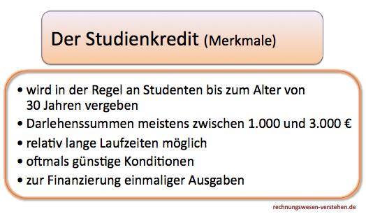 Studienkredit Merkmale